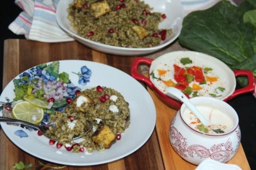 Palak panner rice1